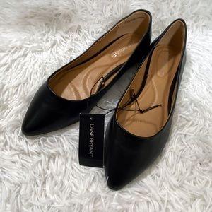 Lane Bryant Black Pointed Toe Flats sz 8W